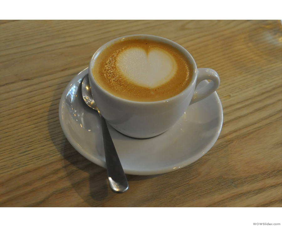 I rounded things off with a rich, creamy San Fermin Colombian decaf flat white. Perfect.