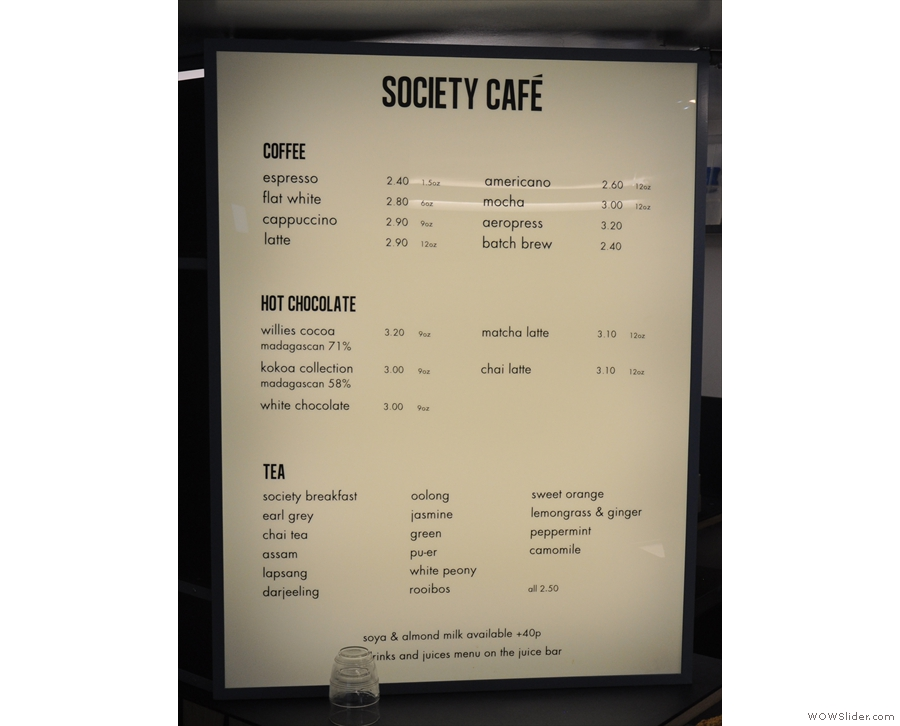 The menu, meanwhile, is off to the left of the counter...