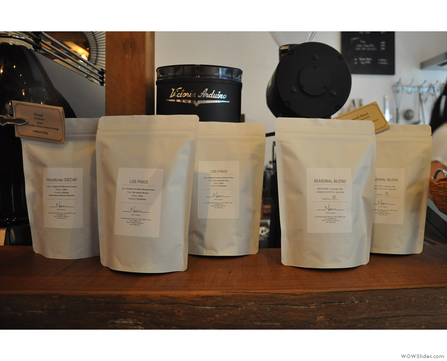 ... while there are retail bags available as well, standing in front of the grinders.