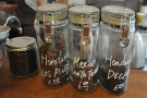 Meanwhile, the beans for the filter coffee are displayed in glass jars on the counter...