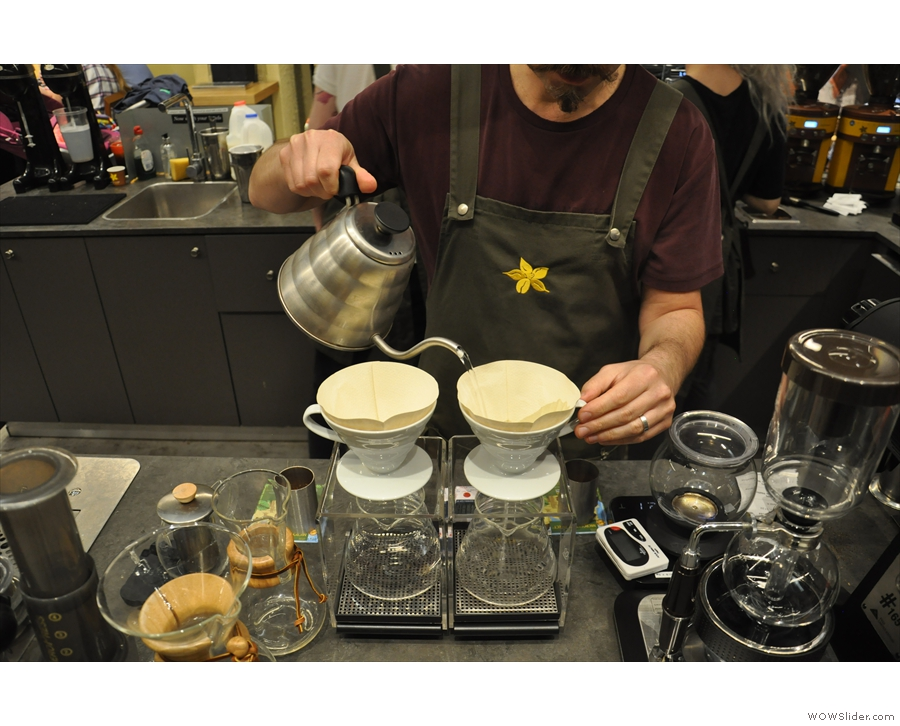 There's also pour-over, using a variety of methods. Here two V60s are being prepared.