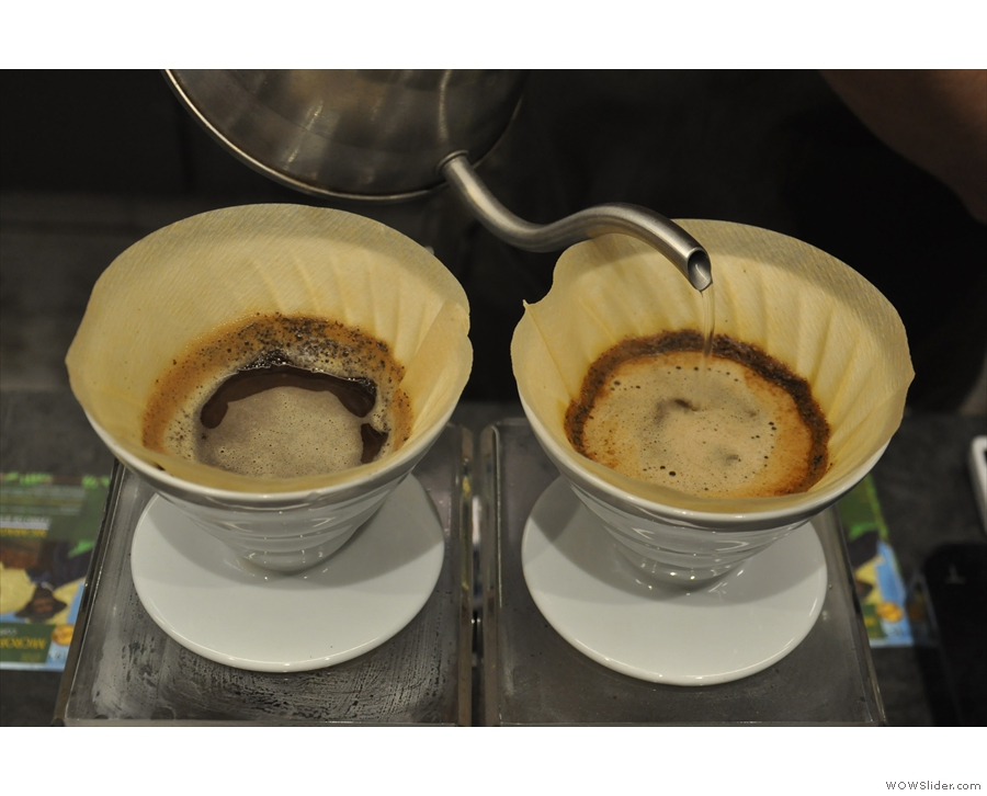 A similar technique is employed, the V60 being filled back to the original level.