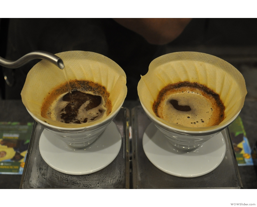 Next, the barista moves onto the second V60...