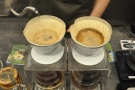 As well as moving the spout around the surface, the barista also changes the height...