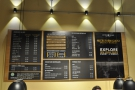 Unusually, while the counter is central, the menu's on the left-hand wall as you come in.