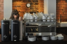 The heart of the coffee operation is the Synesso espresso machine & its two grinders.