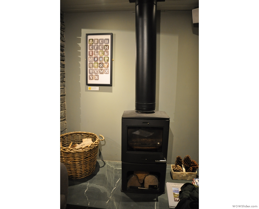 ... is a lovely wood-burning stove for when it gets really chilly out.