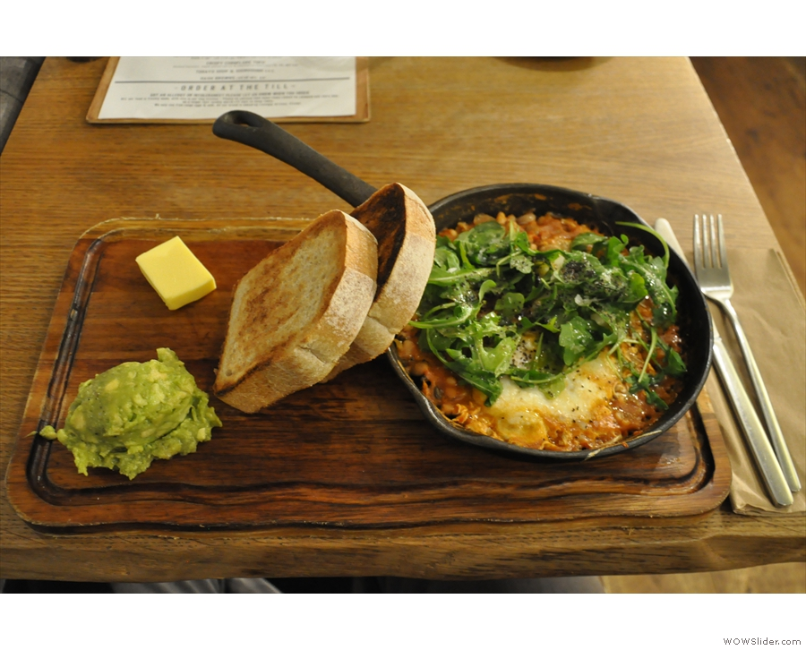... while on Sunday I had the Huevos Rancheros: baked beans with baked eggs. Tasty!