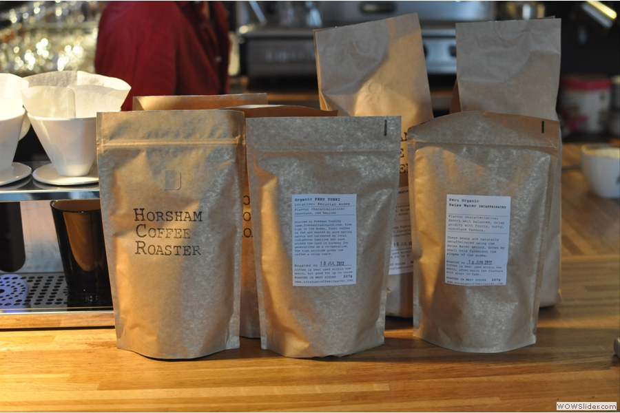 The coffee is now from the local Horsham Coffee Roaster, with an espresso blend and two single-origin beans for the brew bar.