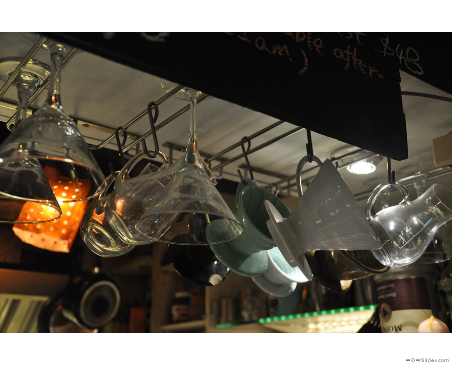 V60s hang above the counter, making use of every available space.
