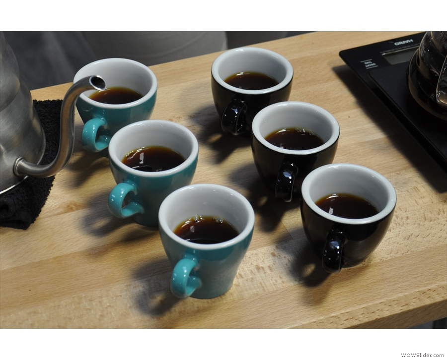 ... and then pour & serve, this time in espresso cups, so we can sample them side-by-side.