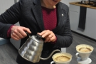 ... filling the V60 with the requisite amount of water...