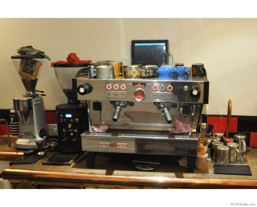 The mainstay of the coffee side of things is the La Marzocco espresso machine...