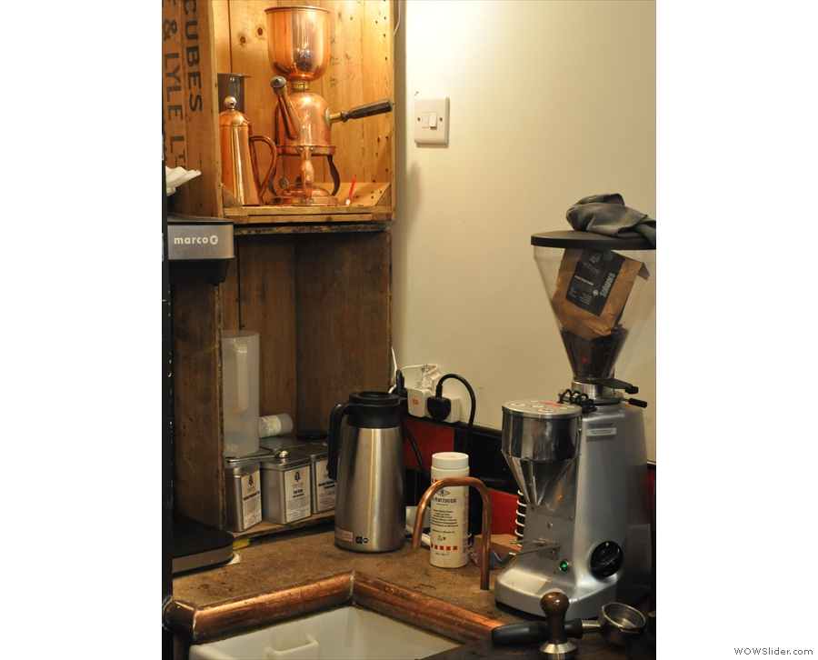 ... while tucked in the corner is the bacth-brewer, although there are plans for pour-over.
