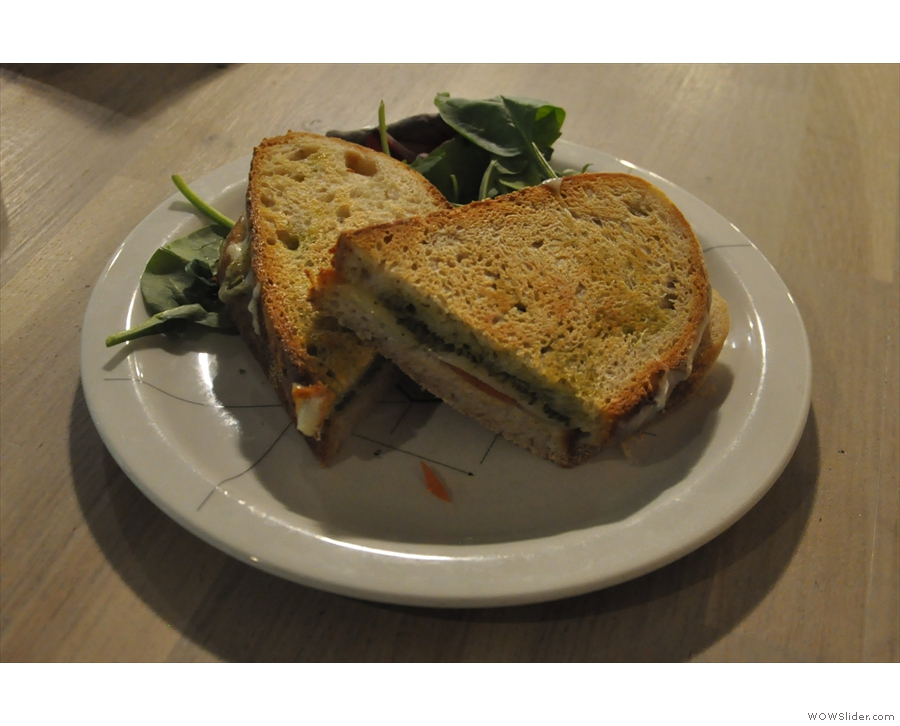 Meanwhile, my mozzarella, tomato and pesto sandwich was excellent...