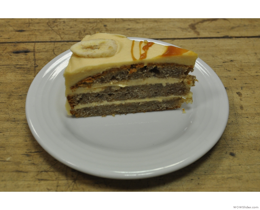 ... paired with a slice of the banana and caramel cream cake.