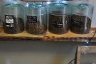 Most of the coffee is stored in bins, but some is placed in these jars.