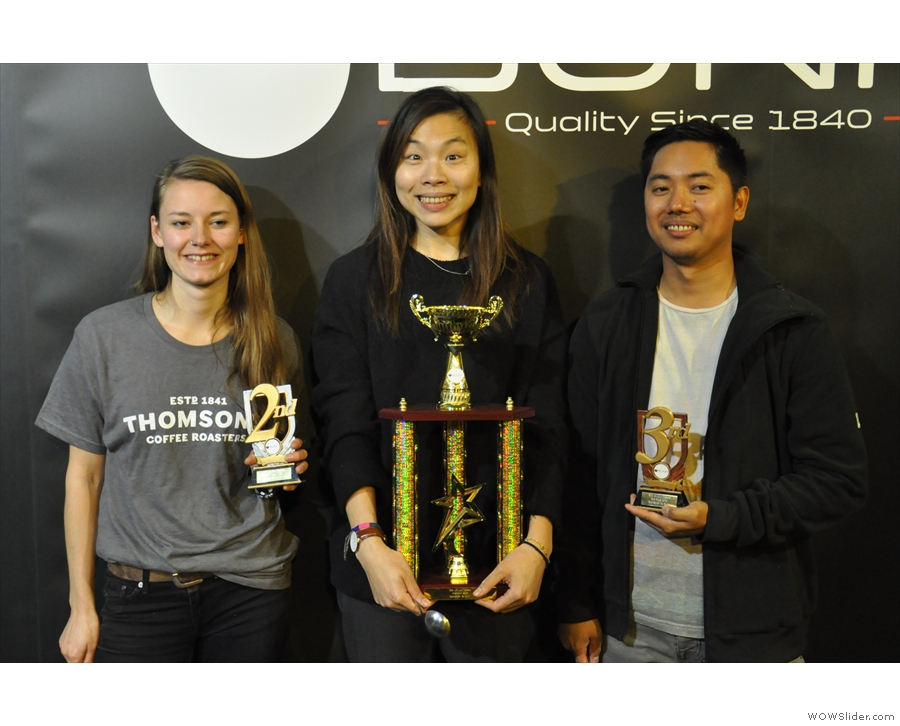 The winners with their trophies. Congratulations to Freda, Katelyn & Don.