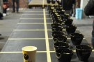 The cups are laid out, ready to go...