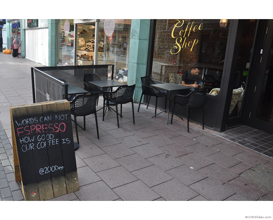 ... 200 Degrees' Cardiff branch, complete with outside seating and bad A-board puns.