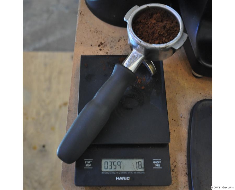 ... and check we have the correct dose. Bang on 18 grams!