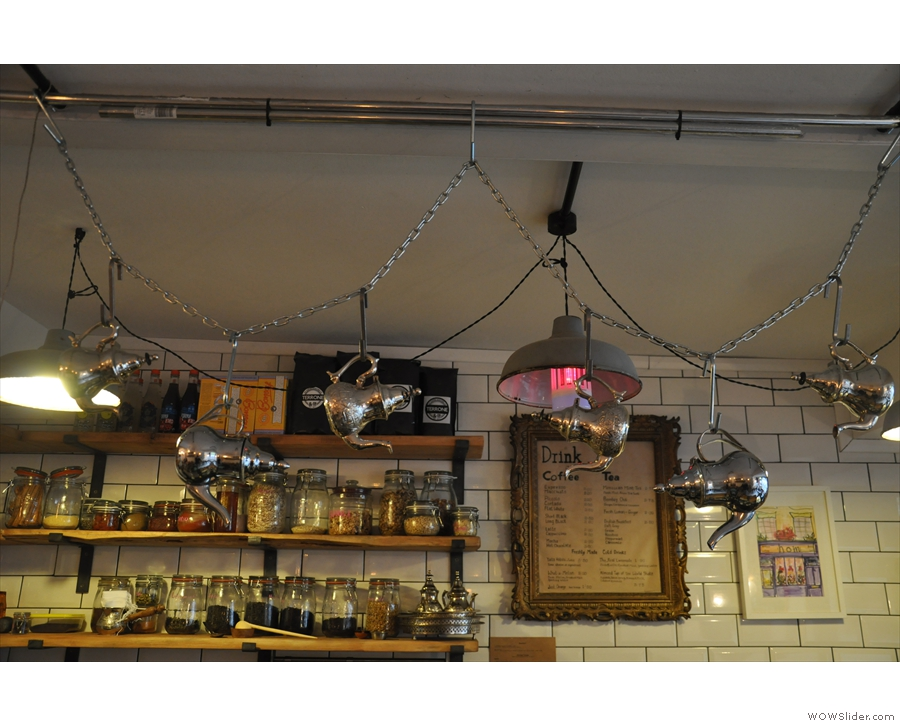 The teapots suspended on chains above the counter are more Moroccan though.