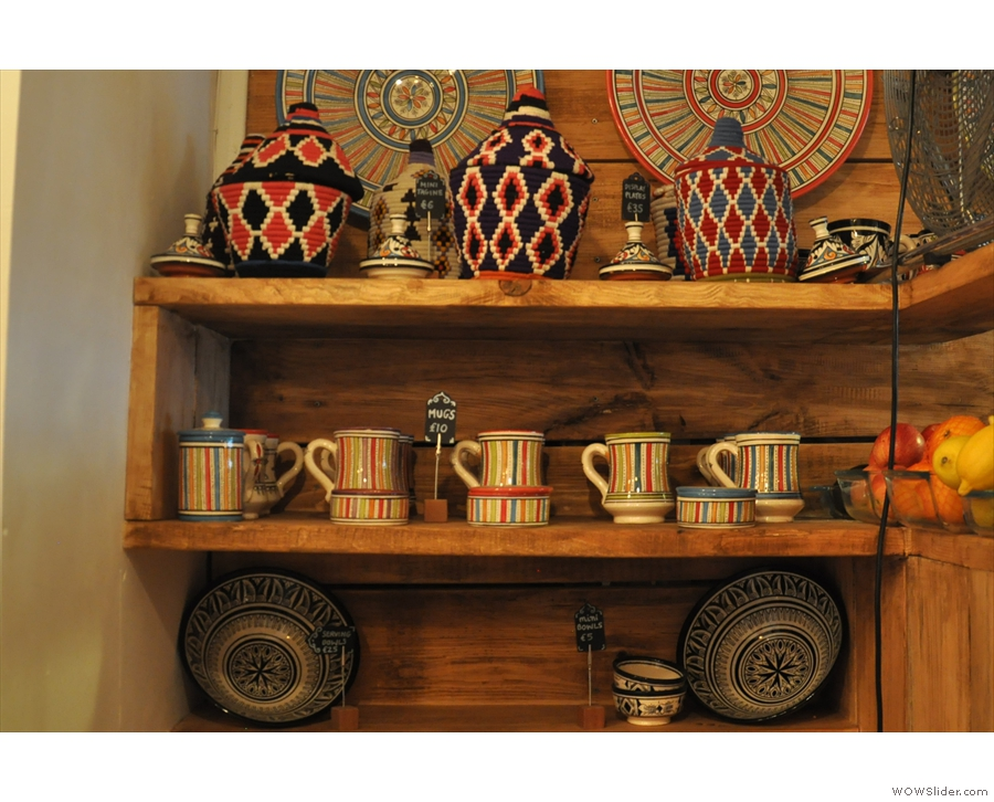... Moroccan merchandise, including mugs and tagines.