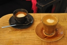 ... which I paired with a lovely cortado (the macchiato in the background belonged to Bex).