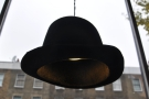 ... with lampshades made of old hats.