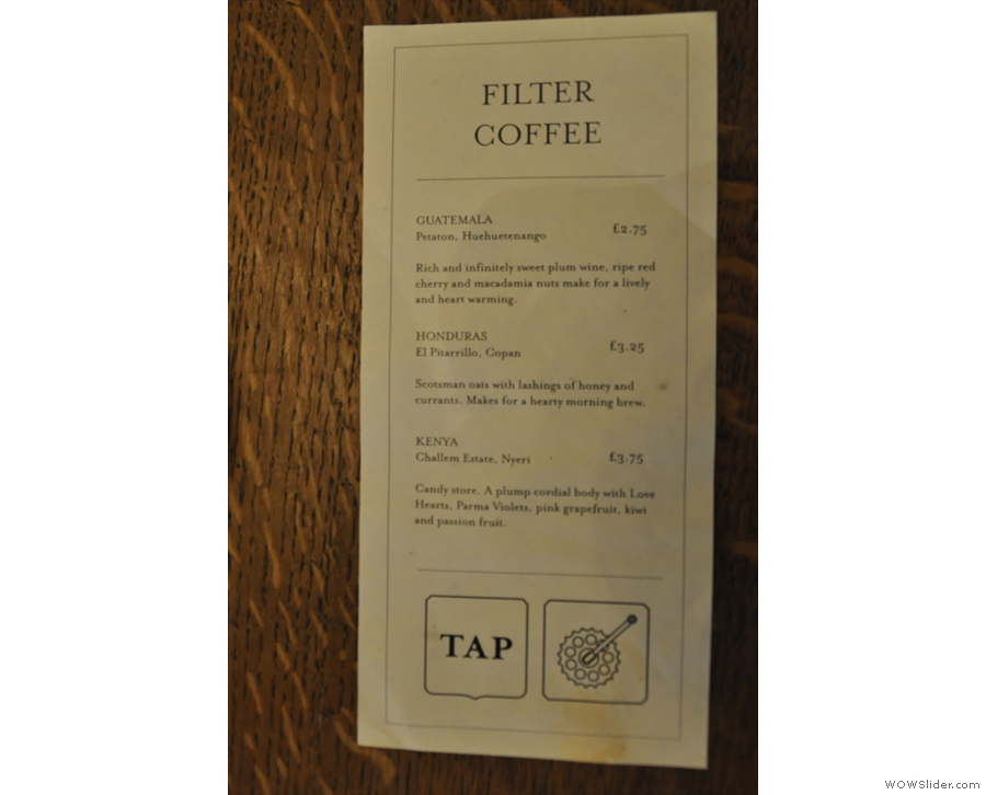 ... while the filter options are also on cards on the tables.