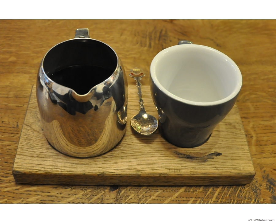 Talking of which, I went for a pour-over, beautifully presented on a wooden tray...