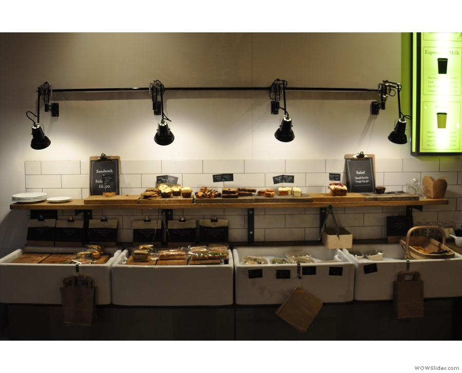The food is displayed on shleves on the left-hand wall. Interestingly, you serve yourself.