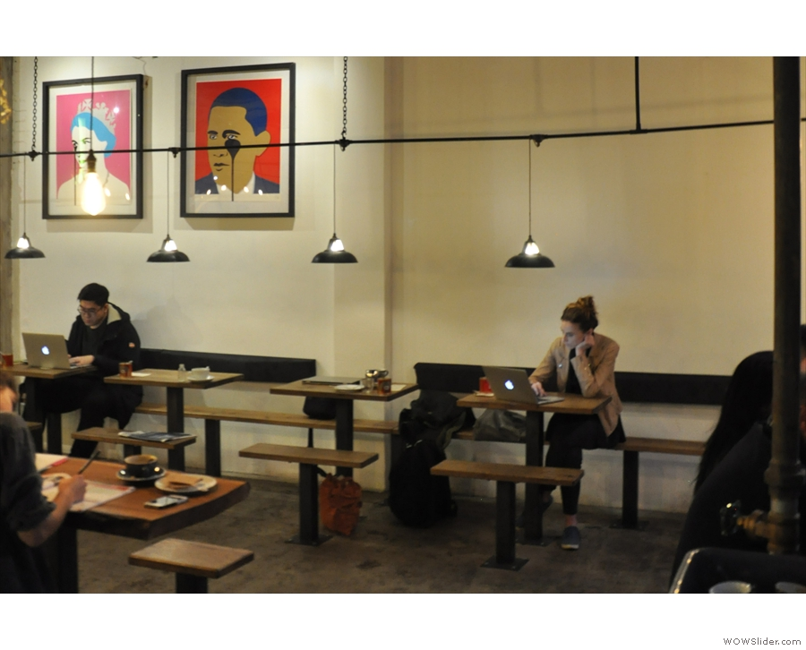 As well as the central communal table, there's a bench along the right-hand wall...