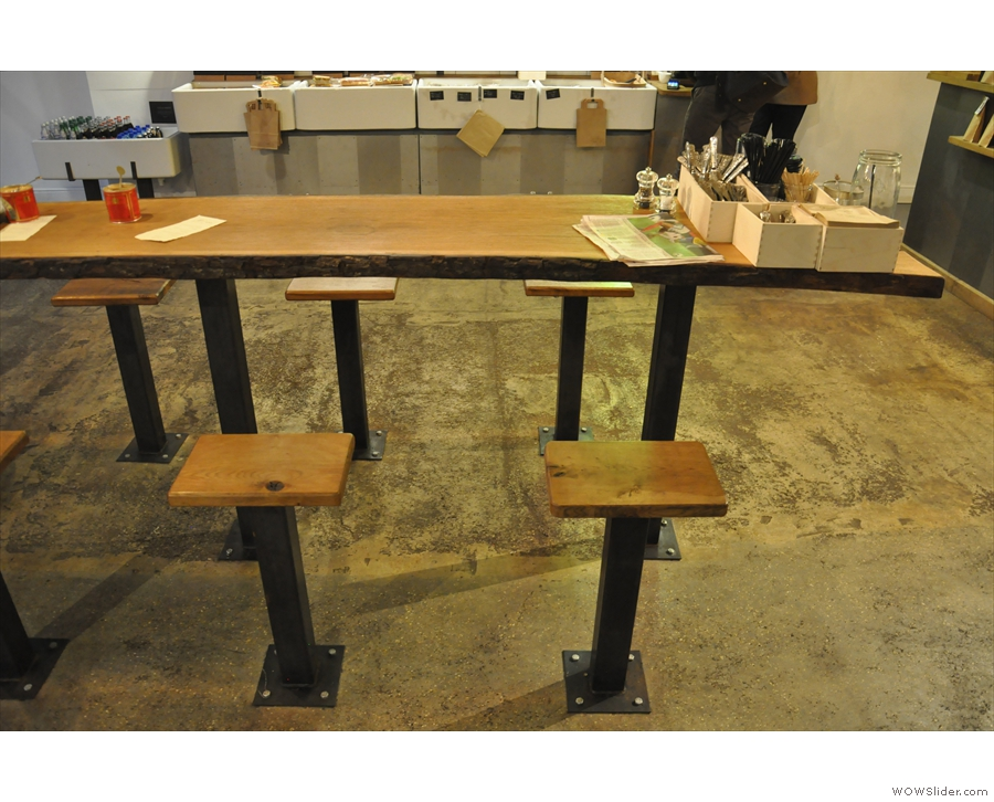 Another view of the communal table in the centre. Note everything is bolted to the floor!