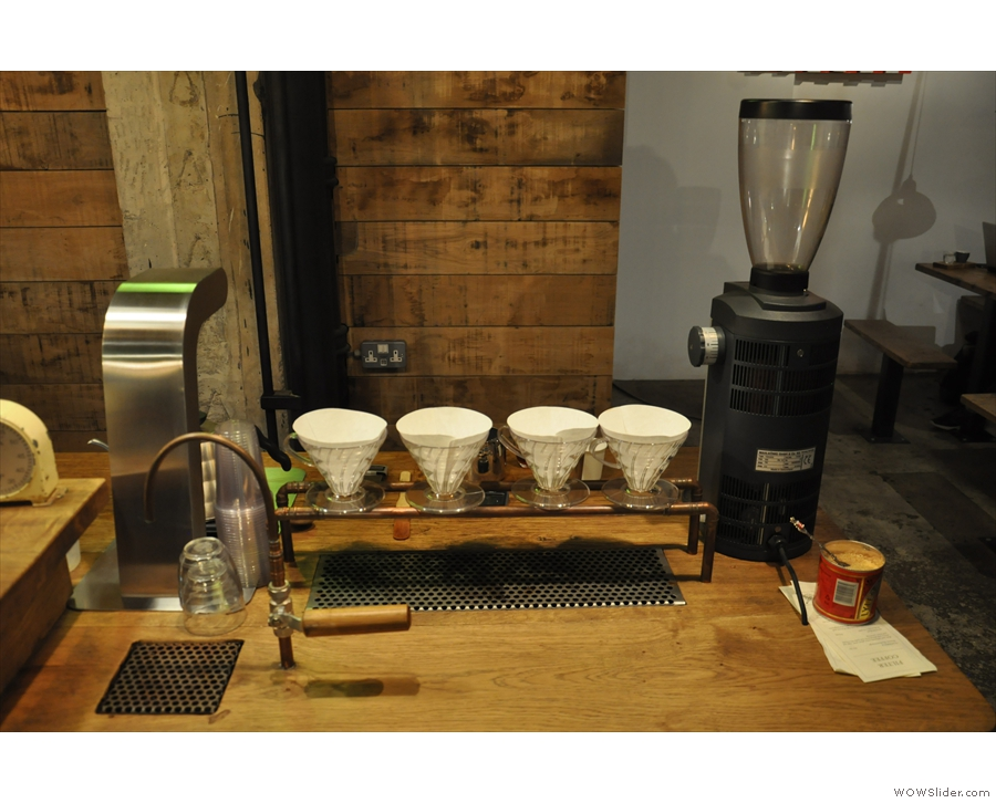 ... or watch your pour-over being made at the filter station down by the water tap.