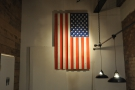... while an American flag hangs at the back on the right.