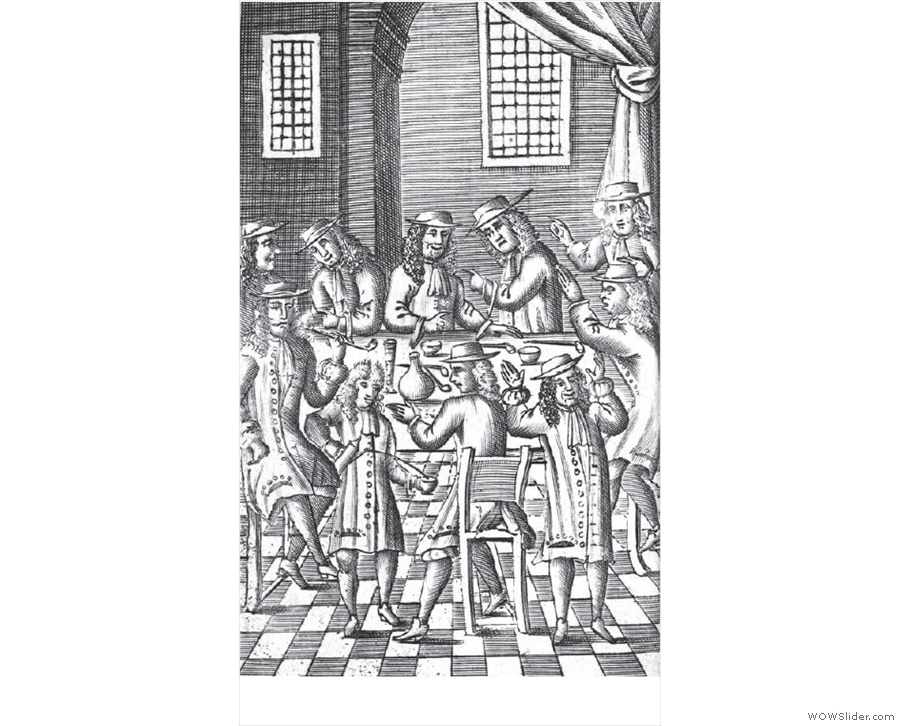 I'll leave you with another of the illustrations, a 17th century London coffeehouse.
