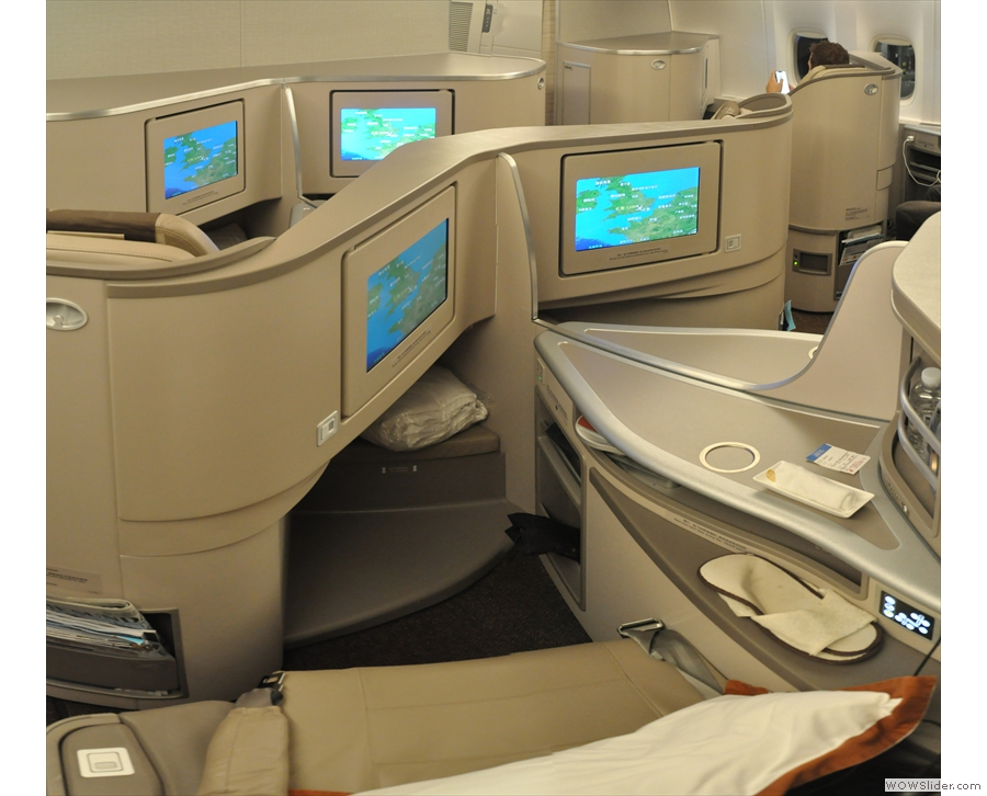 My seat up front in business class and we're all ready to go.
