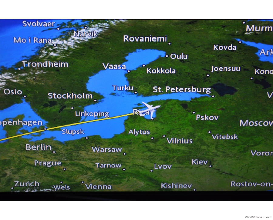 ... then over Latvia and its capital, Riga...