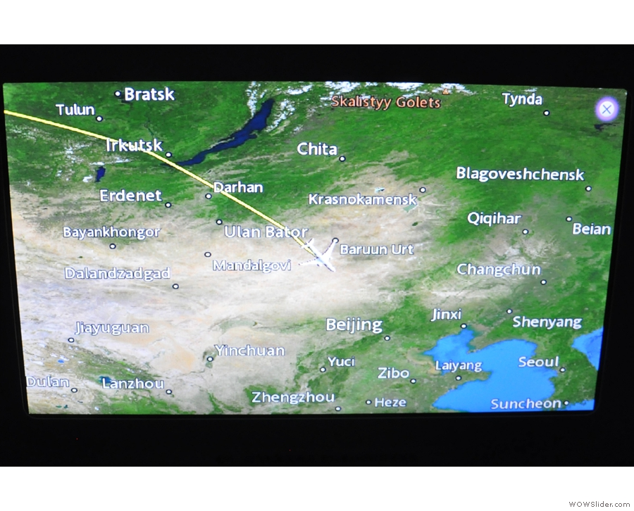 We crossed over Mongolia and then somewhere near the Chinese border...