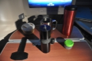 And, of course, coffee. Here's my Aergrind and Travel Press, plus hot water from the galley.