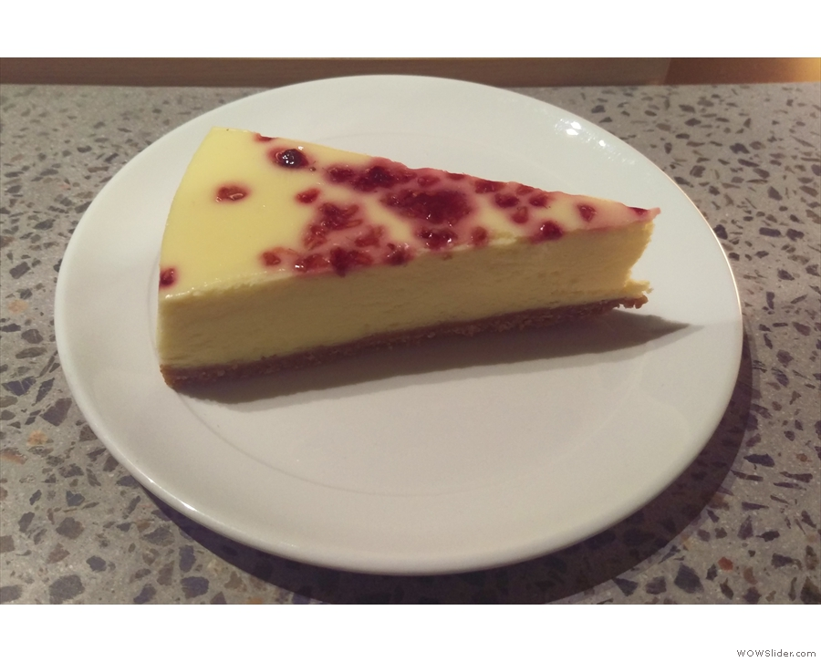 I paired it, as a treat, with an equally awesome slice of raspberry cheesecake.