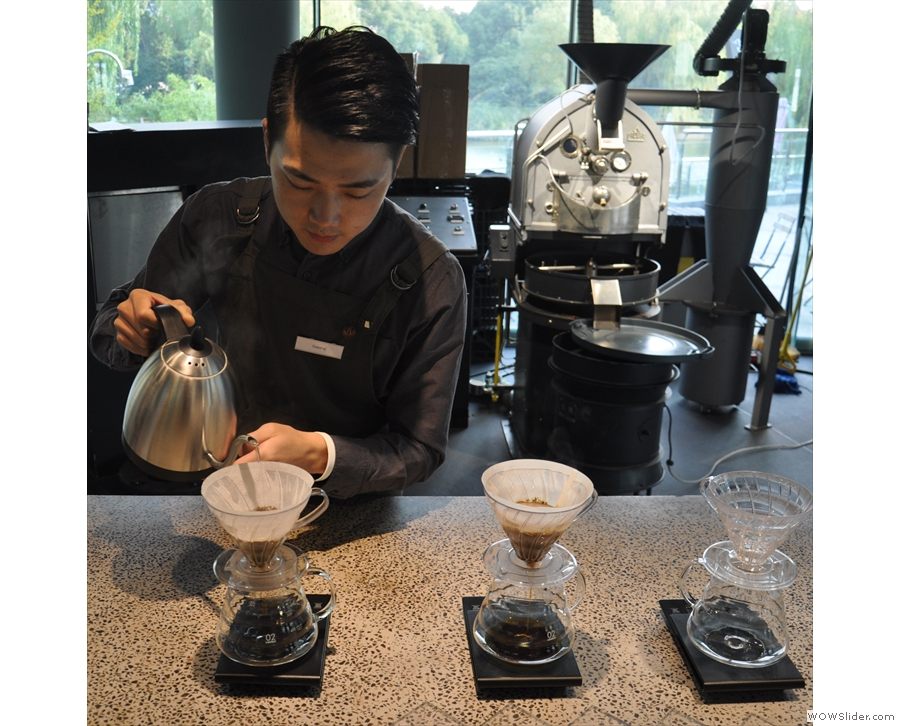 Blooming is the process of letting the gases in the coffee come out before the main pour.