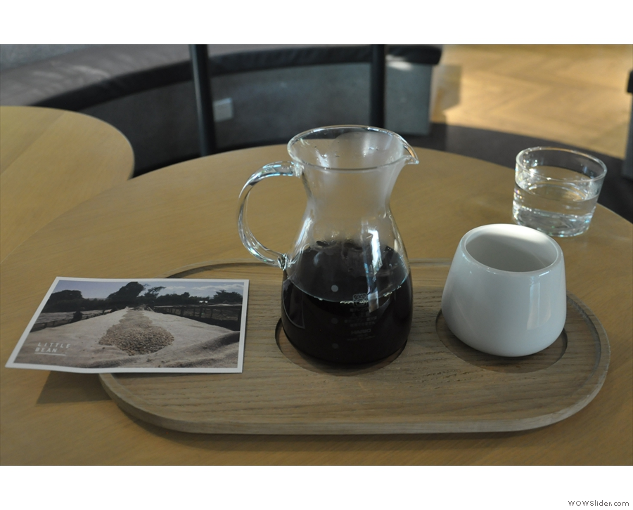My coffee, an Ethiopian Burtukaana, served in a carafe, on a tray, cup on the side.