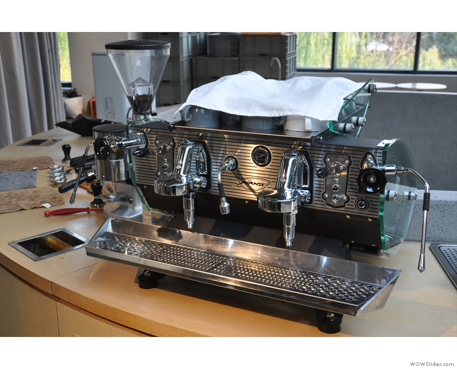 It's equipped with a pair of lovely Kees van der Westen espresso machines.