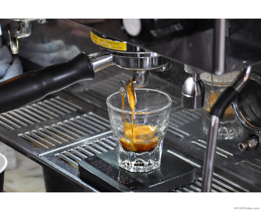 October: I love watching espresso extract, in this case, at Porter in Madison.