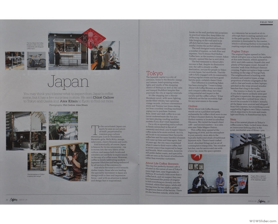Elsewhere, Caffeine Magazine spreads its wings again as editor Chloe gets to go to Japan.