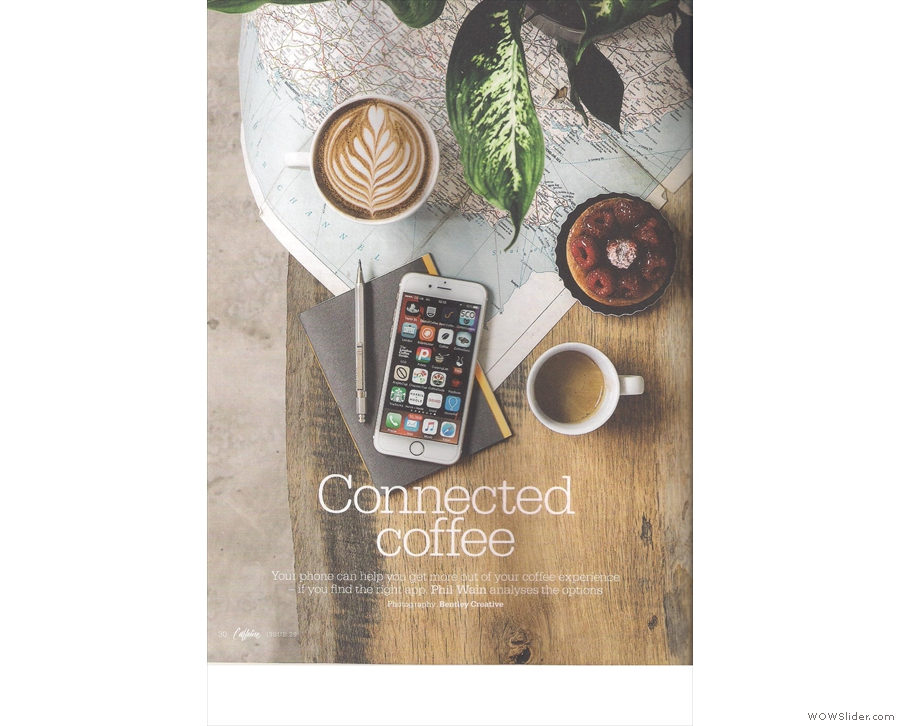 Inside, there's a great feature on coffee apps...