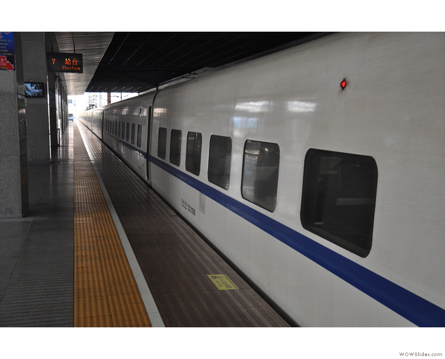 It's a very long train: this is it on the platform in Shanghai at the end of the journey.