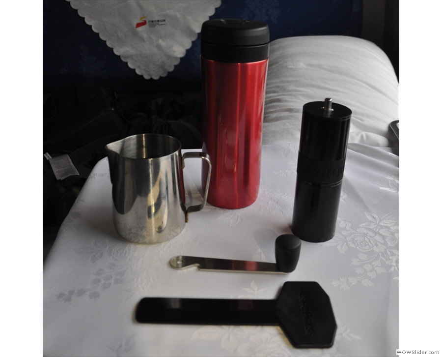 So there will be coffee after all! My trusty Aergrind and Travel Press come out...
